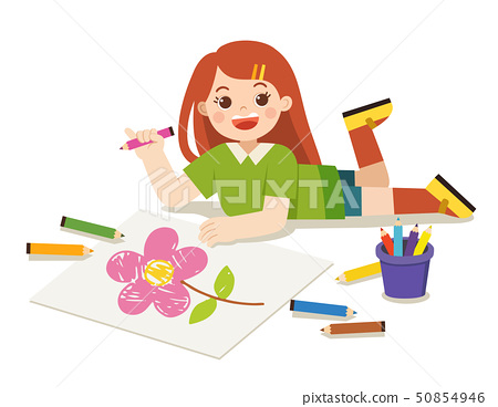 Girl draw pictures on floor. Back to school. 50854946