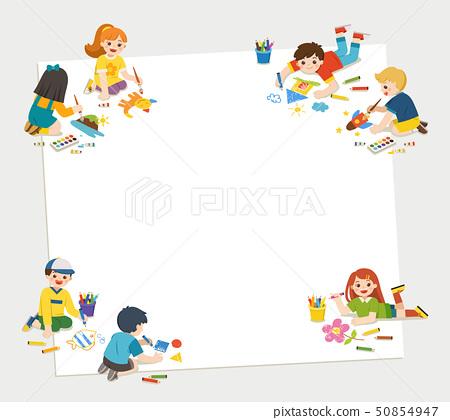 Children get painting on floor together. Art kids. 50854947