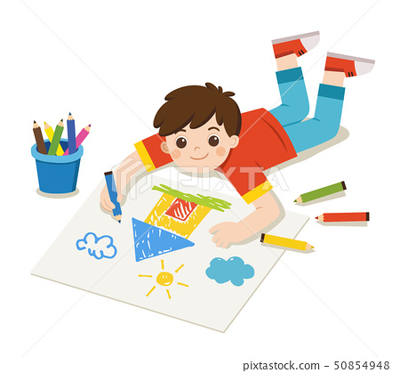 A Boy draw pictures on floor. Back to school. 50854948