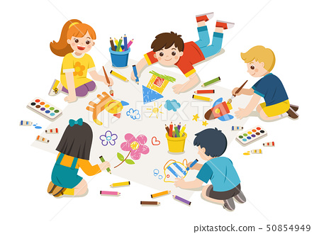 Children get painting on floor together. Art kids. 50854949