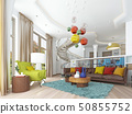 Luxury large living room in the style of kitsch. 50855752