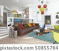 Luxury large living room in the style of kitsch. 50855764