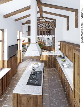 Modern Luxury Kitchen In A Loft Style Stock Illustration 50856299 Pixta