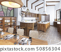 Modern kitchen and dining room in the loft. 50856304