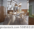 Served table for eight in the dining room in the 50856318