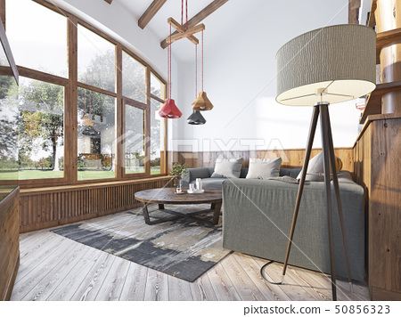 Modern living room in a loft style. 50856323