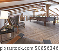 Billiard room in the attic with sitting area and 50856346