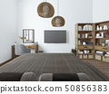 Bedroom with TV desk and shelves for books. 50856383