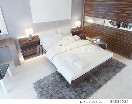 Contemporary bedroom in bright colors with brown 50856582