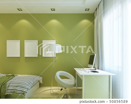 Modern children's room green color with mockup 50856589