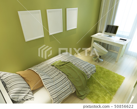Contemporary teen room for green color with a bed 50856622