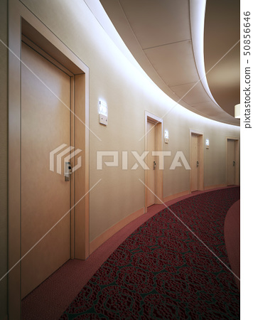 Bright contemporary hallway in round hotel complex 50856646