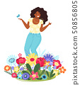 Vector template with happy woman and flowers. Modern flat colorful vector illustration. Young pretty 50856805