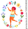 Vector template with happy woman in the flower circle. Modern flat colorful vector illustration 50856806