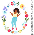 Vector template with happy woman in the flower circle. Modern flat colorful vector illustration 50856807
