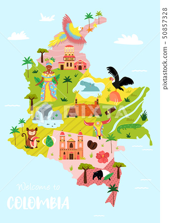 Bright illustrated map of Colombia. Travel banner 50857328