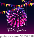 Festa junina poster with bright fireworks, flags, frame and text on dark purple background. 50857838