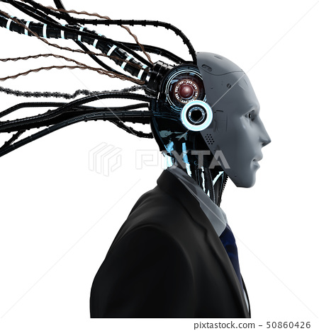 robotic businessman with cables 50860426
