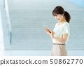 女性員工女商人企業圖像婦女與計算機一起使用職業婦女 50862770