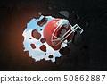 3d rendering of a red american football helmet breaking black wall 50862887