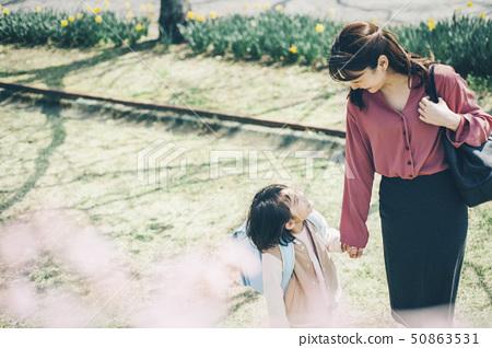 櫻花春天父母和孩子新的生活 50863531