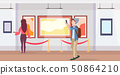 man art gallery visitor taking selfie photo on smartphone camera casual male cartoon character in 50864210