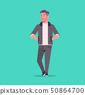 businessman in formal wear holding hands in pockets standing pose smiling male cartoon character 50864700