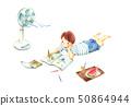 여름 방학 숙제를하는 아이 그림자없이 50864944