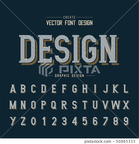 Line Font shadow and graphic alphabet vector 50865315