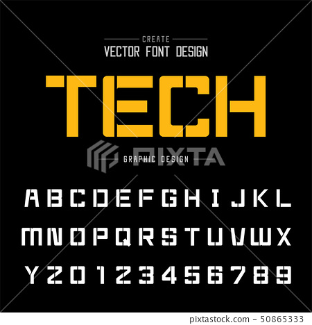 Font and alphabet vector, Square typeface letter 50865333