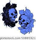 스컬과 꽃 일러스트, 50865921