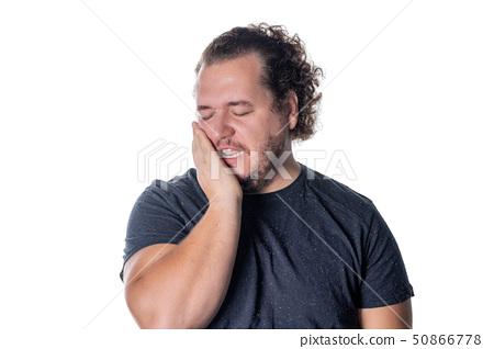 Portrait of sleepy man on white background 50866778