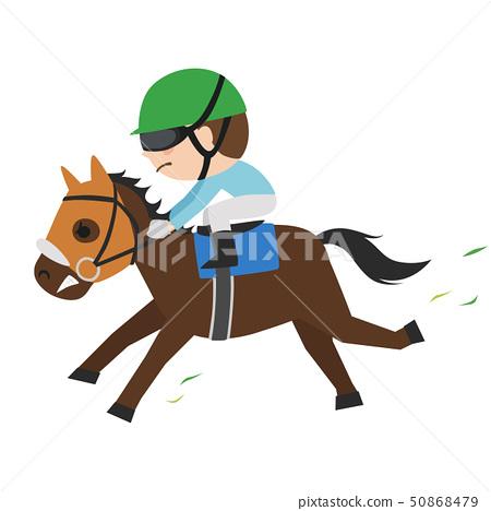 賽馬的插圖。一匹賽馬和一位年輕的騎師努力奔跑。 50868479
