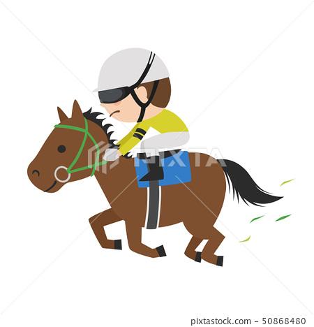 賽馬的插圖。一匹賽馬和一位年輕的騎師努力奔跑。 50868480