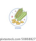 Icon of sesame capsules and seeds in circle flat linear style 50868827