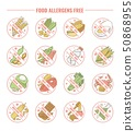 Set of icons and labels for products allergens free with allergies intolerance. 50868955