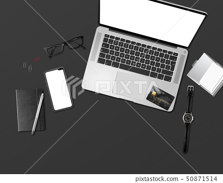 Office desk mockup top view isolated on black 50871514