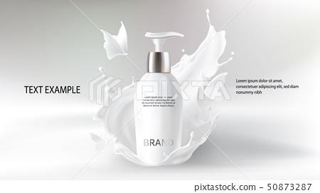 Milk cosmetics realistic vector blurred background 50873287