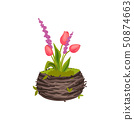 Three tulips growing in a pot-shaped nest. Vector image on white background. 50874663