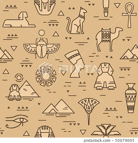Beige seamless pattern of symbols, landmarks, and signs of Egypt from icons in a line style. 50879005