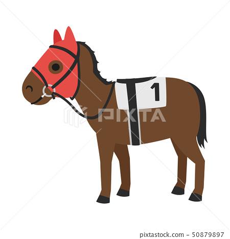 賽馬的插圖。一匹帶著面具叫馬爾科的馬,它的臉和耳朵被覆蓋,好像你對聲音感到驚訝。 50879897