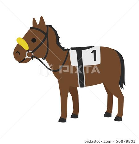 賽馬的插圖。一種稱為陰影卷的馬,遮住了下半部分並將注意力集中在前方,以免被陰影所驚訝 50879903