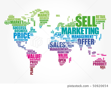 Marketing word cloud in shape of World Map 50920654