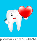 Cute cartoon tooth character holding heart.  50940266