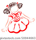 Cute little girl in a smart red dress, with double 50944663