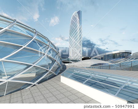 The futuristic architecture of the future. - Stock Illustration ...