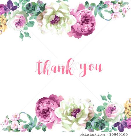 美麗的水彩玫瑰花和牡丹花 50949160