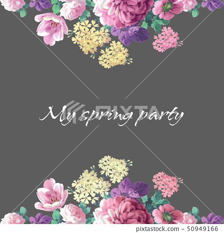 美麗的水彩玫瑰花和牡丹花 50949166
