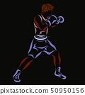 Young strong boxer on a black background 50950156