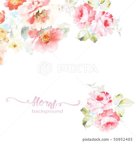 美麗的水彩玫瑰花和牡丹花 50952485